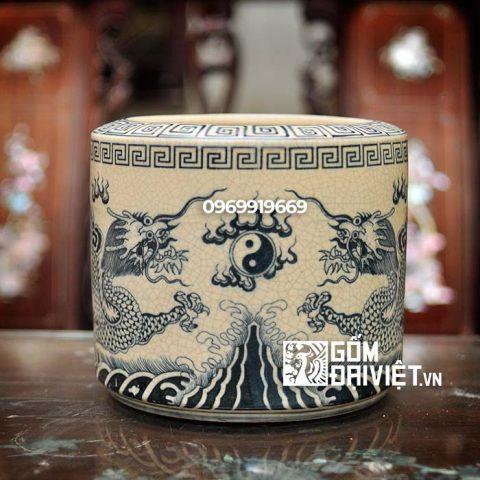 Bát hương Rồng Chầu Nguyệt Bát Tràng – Men lam cổ - phi 20