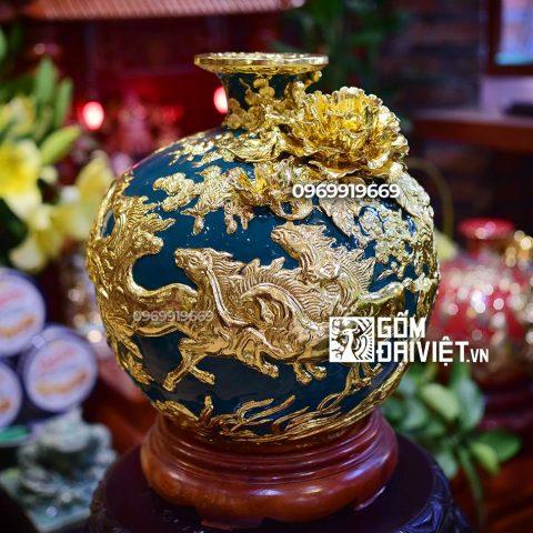 Bình hút tài lộc cổ vịt đắp nổi Mã Đáo Thành Công dát vàng Bát Tràng - Men xanh - 30cmx30cm