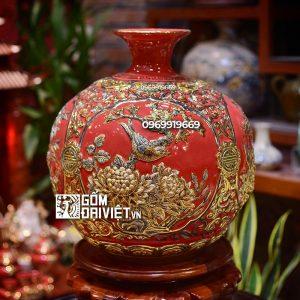 Bình hút tài lộc đắp nổi Tứ cảnh vẽ vàng Bát Tràng - Men đỏ - 35cmx35cm