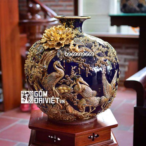 Bình hút tài lộc đắp nổi Tùng Hạc Diên Nhiên vẽ vàng Bát Tràng – Men xanh đen - 40cmx40cm