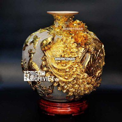 Bình hút tài lộc dát vàng Công đào đắp nổi Bát Tràng - Men rạn