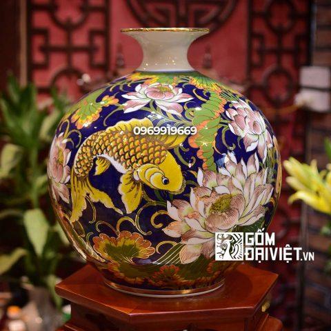 Bình hút tài lộc Lý Ngư Vọng Nguyệt vẽ vàng Bát Tràng - Men vàng - 35cmx35cm