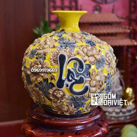 Bình hút tài lộc Phúc Lộc Thọ Bát Tràng - Men vàng - 35cmx35cm