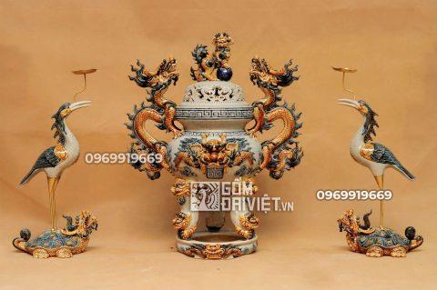 Bộ đỉnh hạc đắp nổi gốm sứ Bát Tràng - Men rạn - 50cm