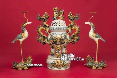 Bộ đỉnh hạc đắp nổi gốm sứ Bát Tràng - Men rạn - 60cm