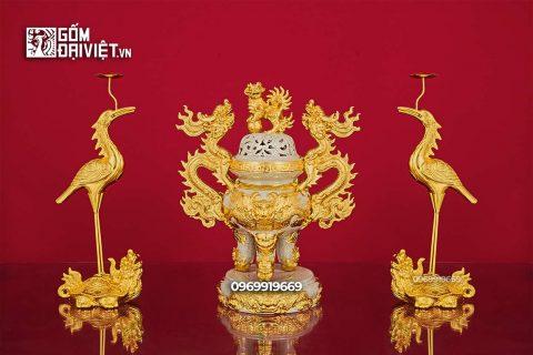 Bộ đỉnh hạc đắp nổi gốm sứ dát vàng Bát Tràng - Men rạn - 50cm