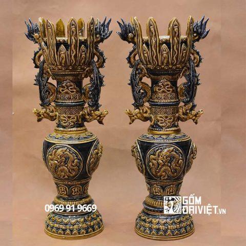Chân đèn thờ Mạc đắp nổi Bát Tràng - 45cm