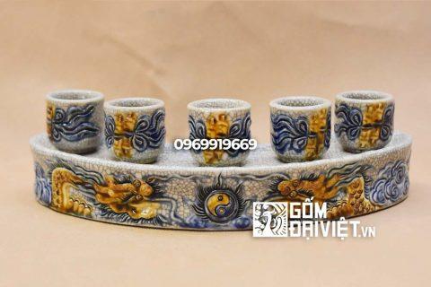 Kỷ thờ cong đắp nổi Rồng Bát Tràng - Men rạn - 5 ly