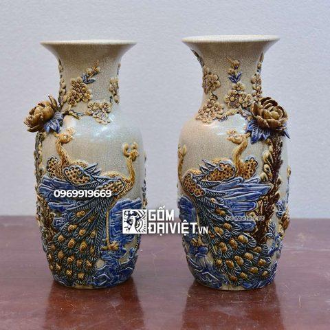 Lọ hoa thờ đắp nổi Công Đào Bát Tràng - Men rạn - 40cm