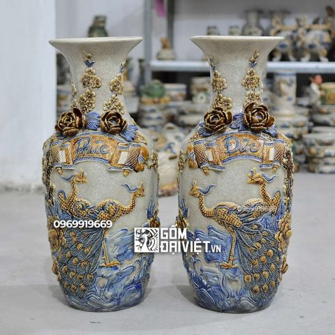 Lọ hoa thờ đắp nổi Phúc Công Đào Bát Tràng - Men rạn - 60cm
