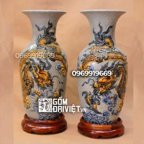 Lọ hoa thờ đắp nổi Rồng Bát Tràng - Men rạn - 32cm