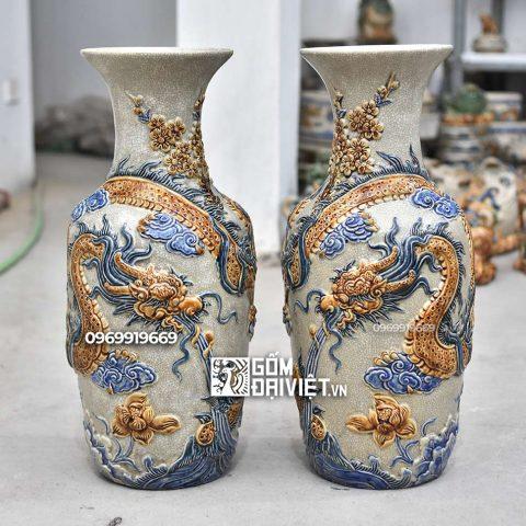 Lọ hoa thờ đắp nổi Rồng Bát Tràng - Men rạn - 50cm
