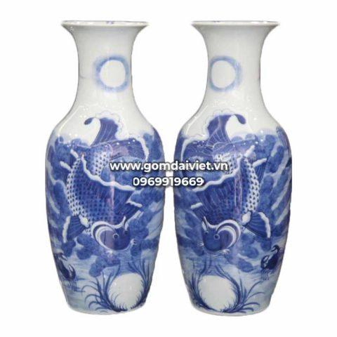 Lọ hoa thờ vẽ Lý Ngư Vọng Nguyệt Bát Tràng - Men rong - 52cm