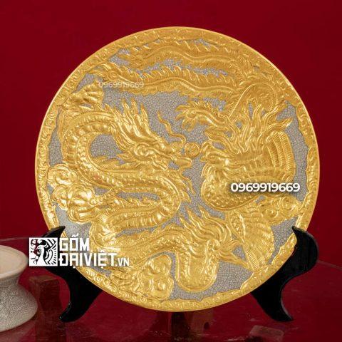 Mâm bồng đắp nổi Long Phụng dát vàng Bát Tràng - Men rạn - Phi 30