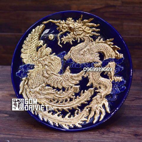 Mâm bồng đắp nổi Long Phụng dát vàng Bát Tràng - Men Thúy Lam - Phi 25