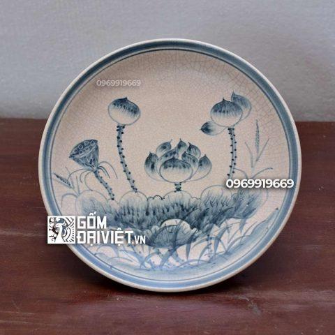 Mâm bồng vẽ hoa Sen Bát Tràng - Men rạn - Phi 25