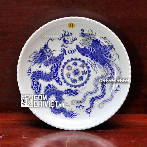 Mâm bồng vẽ Long Phụng ánh kim Bát Tràng - Men lam - Phi 28