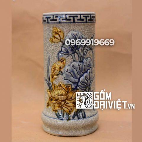 Ống hương đắp nổi hoa Sen Bát Tràng - Men rạn - 15cm