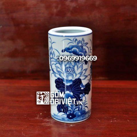 Ống hương vẽ hoa Sen Bát Tràng - Men rong - 15cm