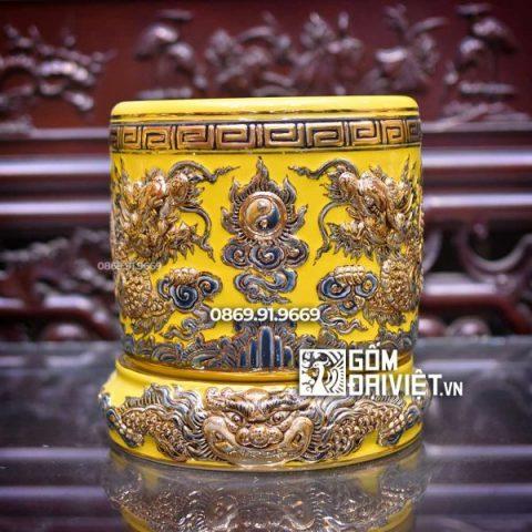 Bát hương đắp nổi Mệnh Thổ màu vàng vẽ vàng 24K