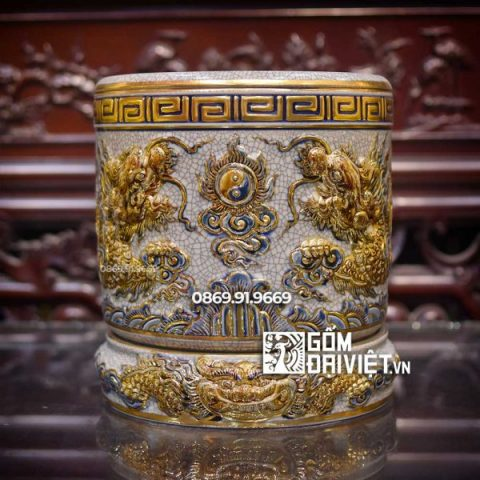 Bát hương vẽ vàng 24K Mệnh Kim đắp nổi men rạn Bát Tràng