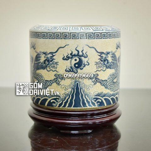 Bát hương vẽ rồng chầu nguyệt men rạn cổ Bát Tràng 18cm