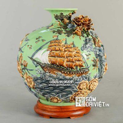 Bình gốm hút tài lộc Thuận buồm xuôi gió xanh cốm H35cm