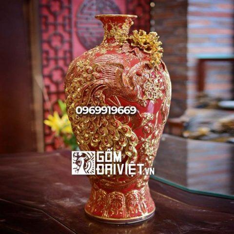 Bình gốm phong thủy vẽ vàng nổi màu đỏ mai bình tích lộc phượng