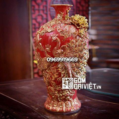Bình gốm phong thủy vẽ vàng nổi màu đỏ mai bình tích lộc công đào