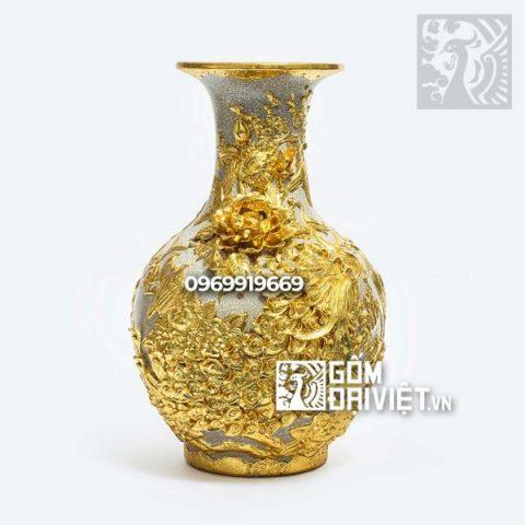 Bình gốm phong thủy đắp nổi dát vàng tỏi công đào 52cm