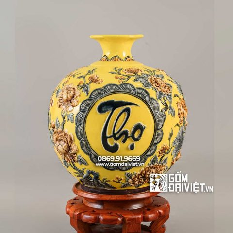 Bình hút lộc mệnh thổ Phúc Lộc Thọ màu vàng H35cm