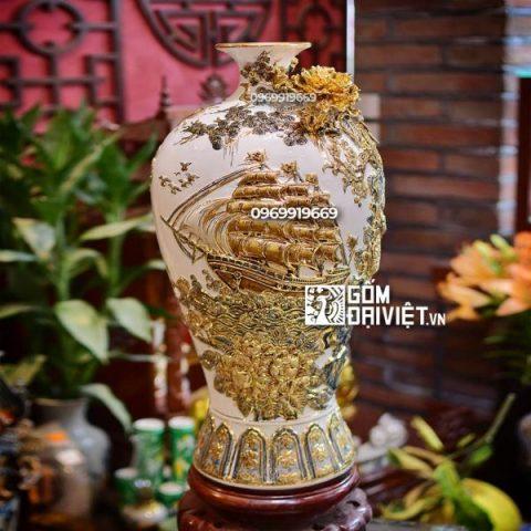 Quà tân gia Mai Bình tích lộc vẽ vàng 60cm Thuận buồm xuôi gió