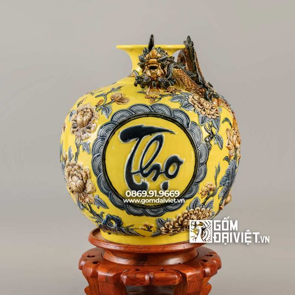 Quà tặng sếp bình hút lộc Phúc Lộc Thọ màu vàng H40cm