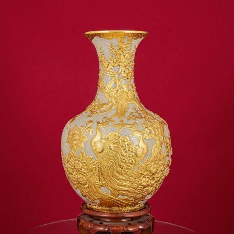 Tỏi đắp nổi Công Danh Phú Quý men rạn bọc đồng thếp vàng cao cấp Bát Tràng