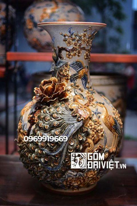 Bình gốm sứ phong thủy công danh phú quý Tỏi đắp nổi men rạn 45cm