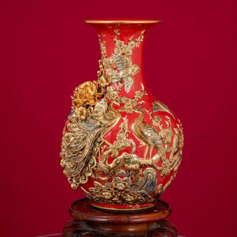 Tỏi men Garnet đắp nổi Công Danh Phú Quý vẽ vàng cao cấp Bát Tràng