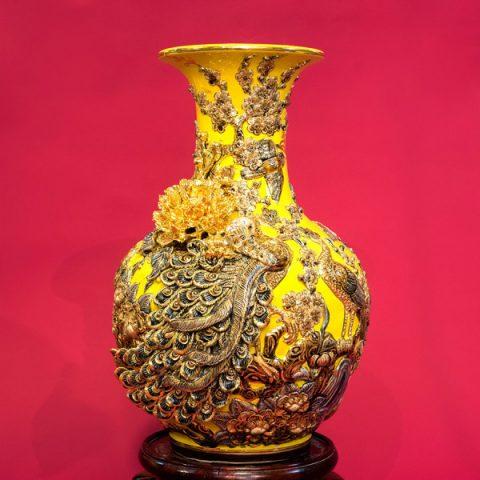 Tỏi men rạn đắp nổi vẽ vàng cao cấp Công Danh Phú Quý men Critine Bát Tràng
