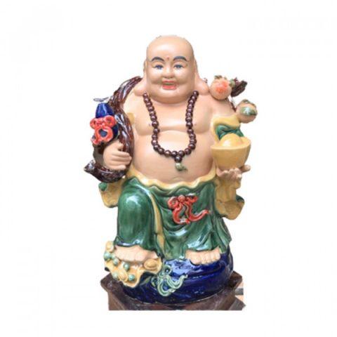 Tượng sứ Di Lặc men màu ghánh hồ lô đào cao 52cm