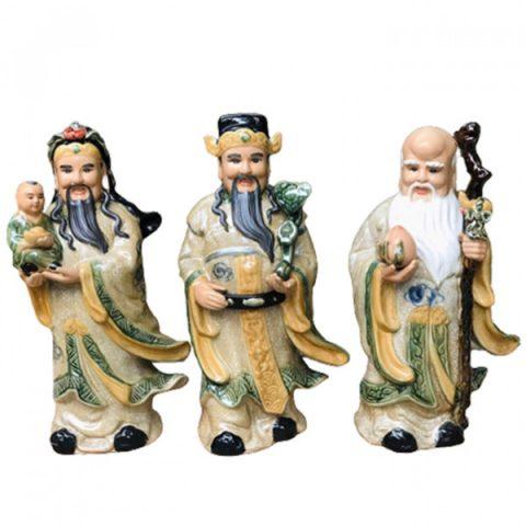 Tượng sứ Phúc Lộc Thọ Bát Tràng men rạn cao 45cm