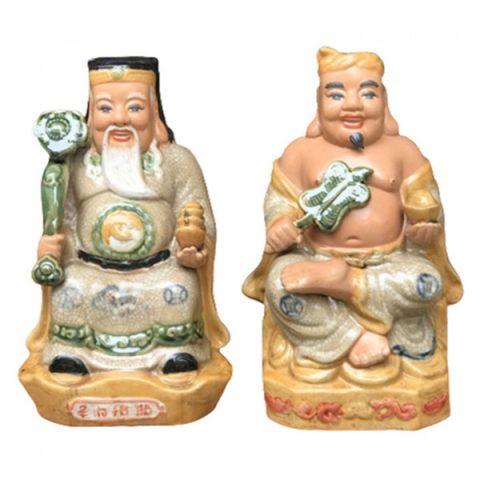 Tượng sứ Thần Tài Thổ Địa bệ ngai mẫu 2 Bát Tràng cao 30cm