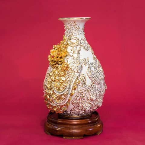 Tỳ Bà Công Danh Phú Quý Màu Trắng đắp nổi vẽ vàng