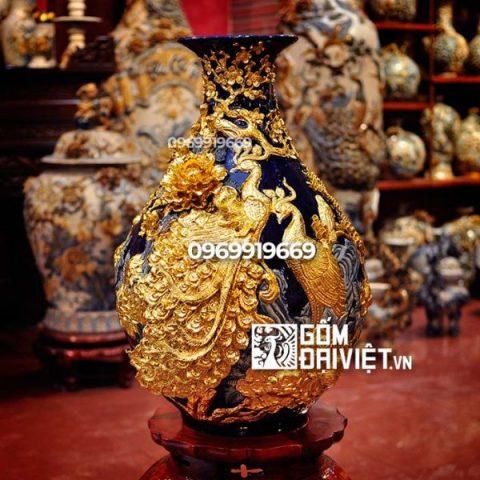 Bình gốm sứ phong thủy mạ vàng công đào Tỳ bà đắp nổi 60cm