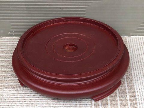 Chân đế gỗ bát hương 1 mặt đường kính 16cm nâu đỏ