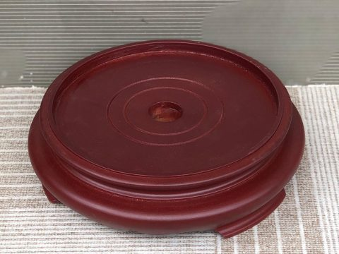 Chân đế gỗ bát hương 1 mặt đường kính 18cm nâu đỏ