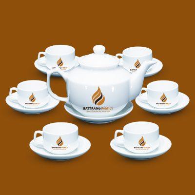 Bộ ấm chén trắng hàng quà tặng Bát Tràng in logo mẫu 2