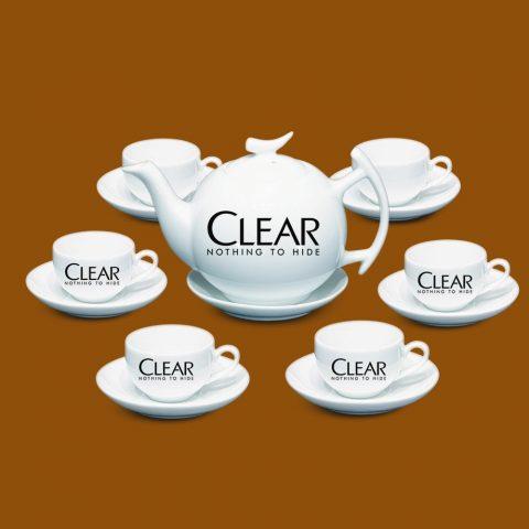 Bộ ấm trà Bát Tràng quà tặng in logo Clear