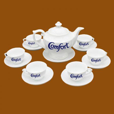 Bộ ấm trà Bát Tràng quà tặng in logo Comfort