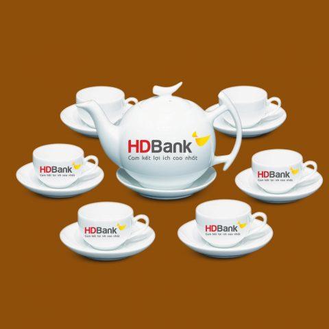 Bộ ấm trà Bát Tràng quà tặng in logo HD Bank