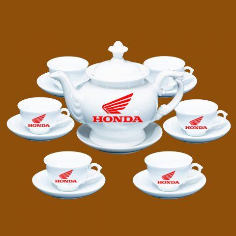Bộ ấm trà Bát Tràng quà tặng in logo Honda