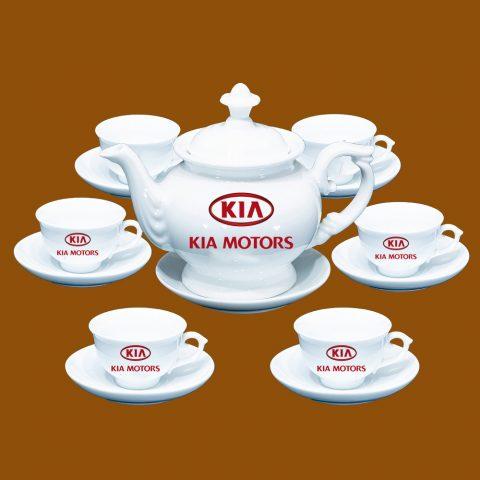 Bộ ấm trà Bát Tràng quà tặng in logo Kia Motors